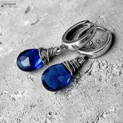 srebrne,delikatne,eleganckie,nowoczesne,kobaltowe - Kolczyki - Biżuteria