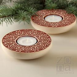 lampiony,świeczniki,ceramika,czerwone - Ceramika i szkło - Wyposażenie wnętrz