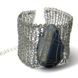 bransoletka,szydełko,geometryczna,agat,plecion - Bransoletki - Biżuteria