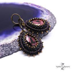 błyszczące,łezki,krople,wiszące,haftowane,błękit, - Kolczyki - Biżuteria