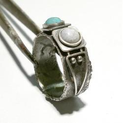 pierścień,srebro,turkus,chalcedon - Pierścionki - Biżuteria