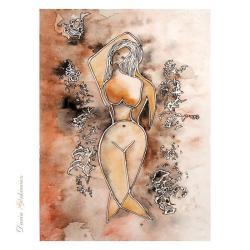 grafika,akt,kobieta,na ścianę,wnętrze,sepia,brązy - Ilustracje, rysunki, fotografia - Wyposażenie wnętrz