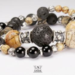 bransoleta,srebro,komplet,lawa - Bransoletki - Biżuteria