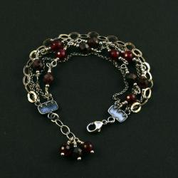 srebrna bransoletka z granatem - Bransoletki - Biżuteria