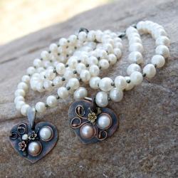komplet,z perłami,na slub,prrezent,bransoletka, - Komplety - Biżuteria