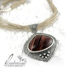 srebrny wisior,naszyjnik na lnie - Naszyjniki - Biżuteria