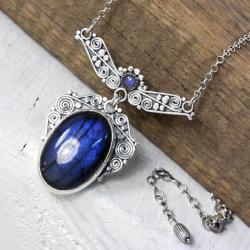 Srebrny naszyjnik z labradorytem - Naszyjniki - Biżuteria