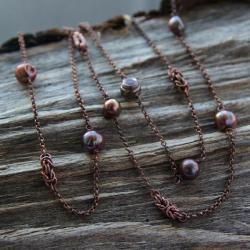 miedziany,naszyjnik,prezent,asymetryczny,jesień - Naszyjniki - Biżuteria