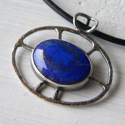 lapis lazuli,z lapisem lazuli,srebro oksydowane - Wisiory - Biżuteria