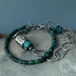 srebro,kuta,surowa,łańcuch,turkus,oksyda, - Bransoletki - Biżuteria