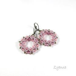 kolczyki,koła,pastelowe,różowe - Kolczyki - Biżuteria