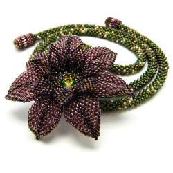 kwiat,romantyczny,fiolet,lariat,zieleń,leśny - Naszyjniki - Biżuteria
