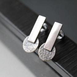 kolczyki srebro faktura wzór unikat - Kolczyki - Biżuteria