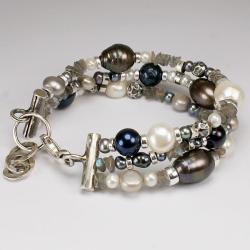 bransoleta,srebro,perły,labradoryt - Bransoletki - Biżuteria