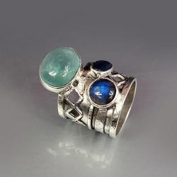 szeroka obrączka z fluorytem - Pierścionki - Biżuteria