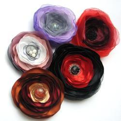 broszka,kwiat,satyna,zestaw,komplet,romantycz - Broszki - Biżuteria