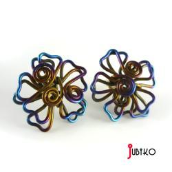 tytanowe,lekkie,druciane,kolorowe,kwiatki - Kolczyki - Biżuteria