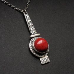 wisior z koralem,art clay,biżuteria srebrna - Wisiory - Biżuteria