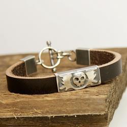 bransoleta,czaszki,biżuteria gotycka - Dla mężczyzn - Biżuteria