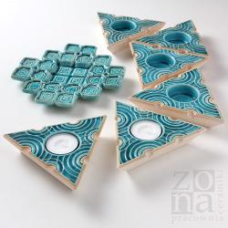 lampiony ceramiczne,talerzyk,turkusowy - Ceramika i szkło - Wyposażenie wnętrz