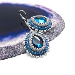 romantyczne,łezki,krople,eleganckie,błękit,srebro - Kolczyki - Biżuteria