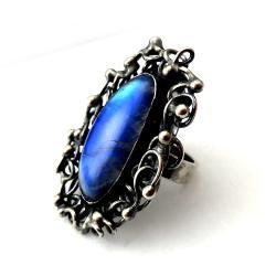 księżyc,srebrny,oksyda,moonstone,blask,baśń - Pierścionki - Biżuteria