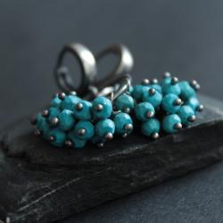 kolczyki,srebro,fado,turkus,niebieskie - Kolczyki - Biżuteria