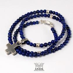 naszyjnik męski,lapis lazuli,krzyż równoramienny - Dla mężczyzn - Biżuteria