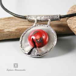 wisior ze srebra,z koralem,hand made - Wisiory - Biżuteria
