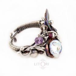 pierścionek,srebrny,perły,litori,ekskluzywny - Pierścionki - Biżuteria