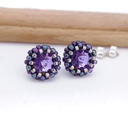 małe,mini,skrzące,sztyfty,okrągłe,fiolet,lila - Kolczyki - Biżuteria