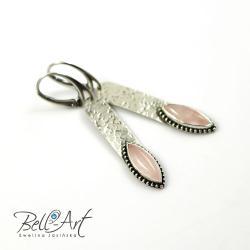 nowoczesne,kwarc różowy,kobiece,eleganckie - Kolczyki - Biżuteria