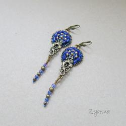 kolczyki,haft koralikowy,dyndające - Kolczyki - Biżuteria