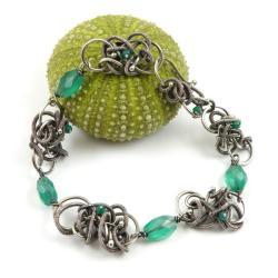bransoletka,zielona,wrapping,misterna,Sunflower - Bransoletki - Biżuteria