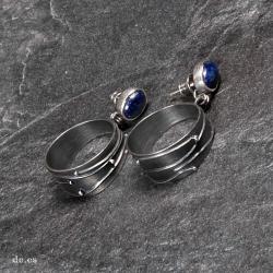 kolczyki z lapis lazuli,srebrne koła - Kolczyki - Biżuteria