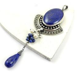 wisior,retro,elegancki,długi,niebieski,lapis,perły - Wisiory - Biżuteria