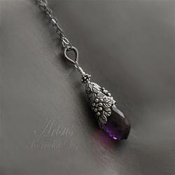 romantyczny,roślinny,las,amulet,ametyst - Naszyjniki - Biżuteria