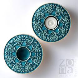 lampiony,świeczniki,ceramika,turkus - Ceramika i szkło - Wyposażenie wnętrz