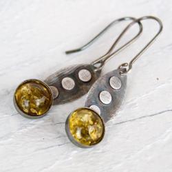kolczyki,srebrne,kobiece,z bursztynem,artseko - Kolczyki - Biżuteria