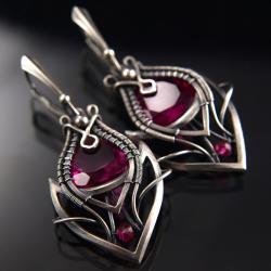 ekskluzywne,eleganckie,stylowe,fuksja,kwarc - Kolczyki - Biżuteria