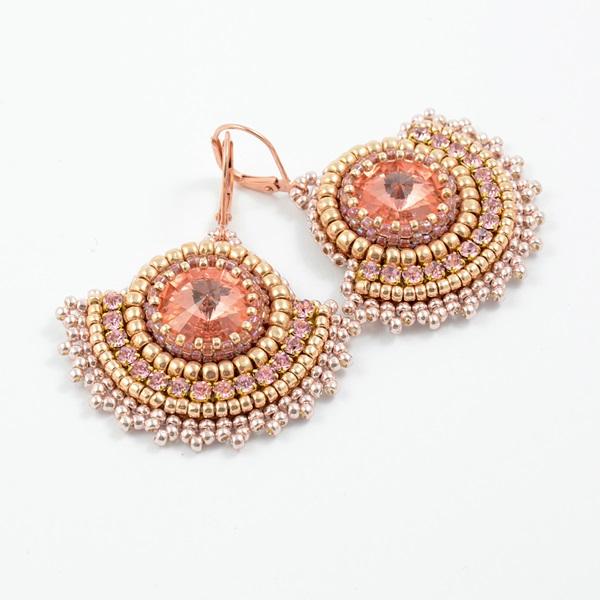 Bead embroidery rivoli kolczyki biżuteria w arsneo