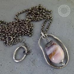 srebro,opal,surowy,oksydowany,łańcuszek,długi - Naszyjniki - Biżuteria