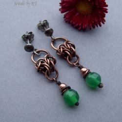 chainmaille,miedź,srebro,onyks,zielony,delikatne - Kolczyki - Biżuteria