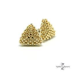 trójkąty,błyszczące,antyalergiczne,mieniące,złote - Kolczyki - Biżuteria