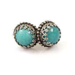 kolczyki,sztyfty,retro,srebro,niebieskie,amazonit - Kolczyki - Biżuteria