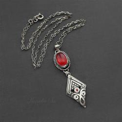 naszyjnik,srebrny,długi,z agatem i szafirem - Naszyjniki - Biżuteria