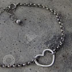srebro,serce,serduszko,onyks,oksydowane,oksyda - Bransoletki - Biżuteria