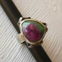 zoisyt z rubinem,srebro oksydowane,rozmiar 18 - Pierścionki - Biżuteria