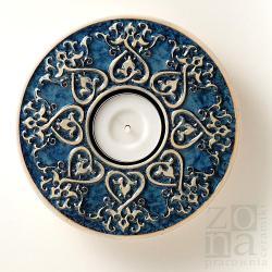 lampion,świecznik,ceramiczny,serce,niebieski - Ceramika i szkło - Wyposażenie wnętrz