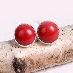 srebrne,sztyfty,koral,małe,drobne,wkrętki - Kolczyki - Biżuteria
